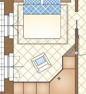 Armadio angolare con cabina o armadio a muro? Due soluzioni d'arredo per una camera di 14 mq.