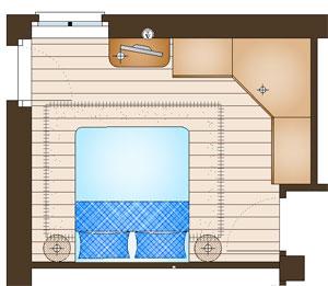 Un armadio con spogliatoio in una camera di 14 mq