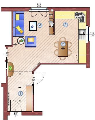 Cucina e soggiorno in un'unica stanza