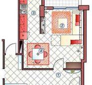 Cucina, pranzo e soggiorno in 26 mq.