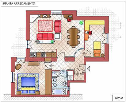 Open space per la zona giorno e intimit per la zona notte - Progetto casa 80 mq ...