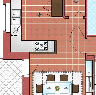 Soluzioni di arredo per cucina e sala da pranzo. Sol 1 con penisola