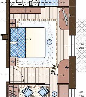 Camera con bagno e cabina armadio Tutto in 28 mq.